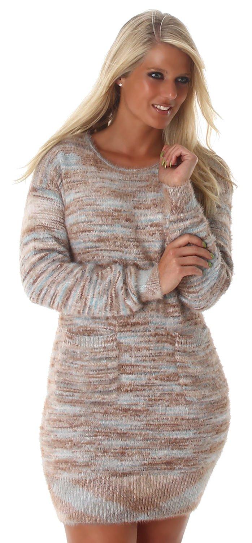 Voyelles Damen Strickkleid mit Taschen Einheitsgröße (36-40), beige:  Amazon.de: Bekleidung