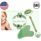 Jade Roller for Face and Gua Sha Stone Massage Tool Set by SRI - Natural Face Roller for Toning & Wrinkles - Authentic Face Massager that Reduces Puffiness to Promote Soft and Firm Skin