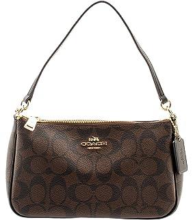 08f169cf59ee Coach Signature Women s Coated Canvas Top Handle Crossbody Bag  (Brown Black