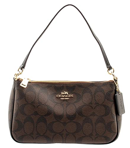 ac2636bcbe Coach Signature Women s Coated Canvas Top Handle Crossbody Bag  (Brown Black