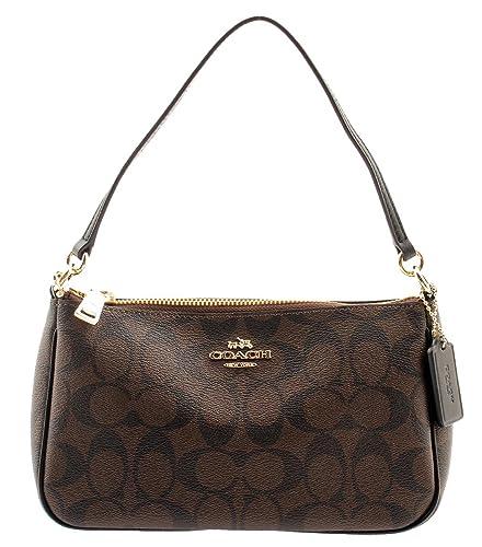 37004373c4d9 Coach Signature Women s Coated Canvas Top Handle Crossbody Bag (Brown Black