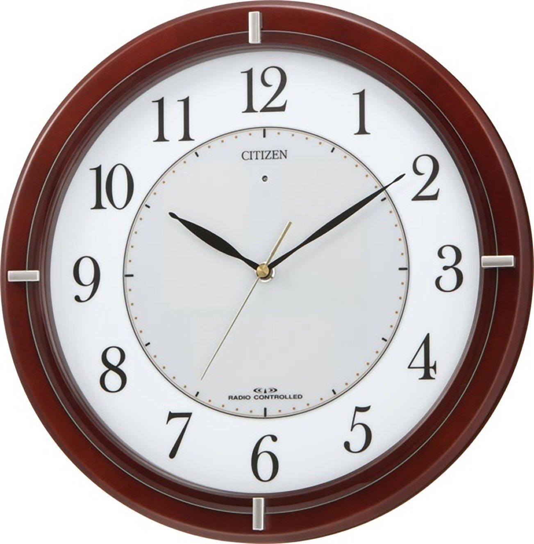 シチズン 掛け時計 電波 アナログ ソーラー エコライフM768 エコマーク グリーン購入法 適合品 木 茶 CITIZEN 4MY768-006 B00194NFZ8