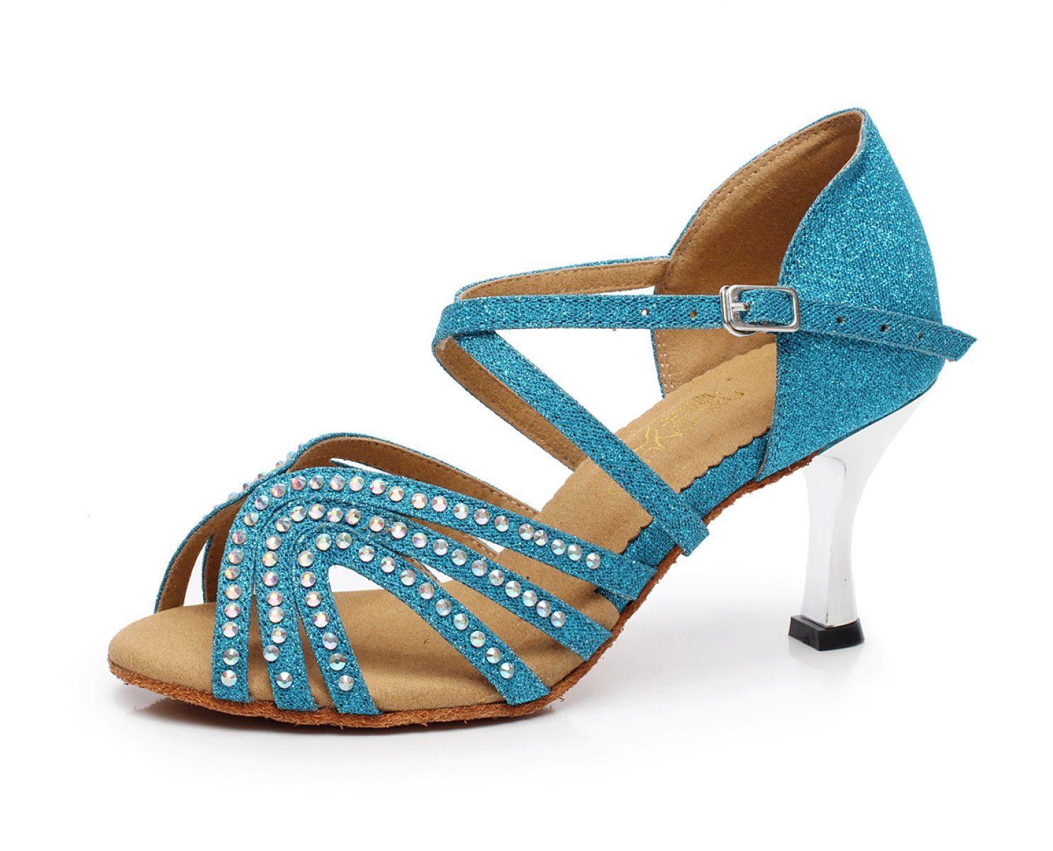 JSHOE Latin Frauen Kristalle Sparking Satin Latin JSHOE Salsa Tanzschuh / Tango / Chacha / Samba / Modern / Jazz Schuhe Sandalen High Heels,Blau-heeled7.5cm-UK7/EU41/Our42 - b6ee2e