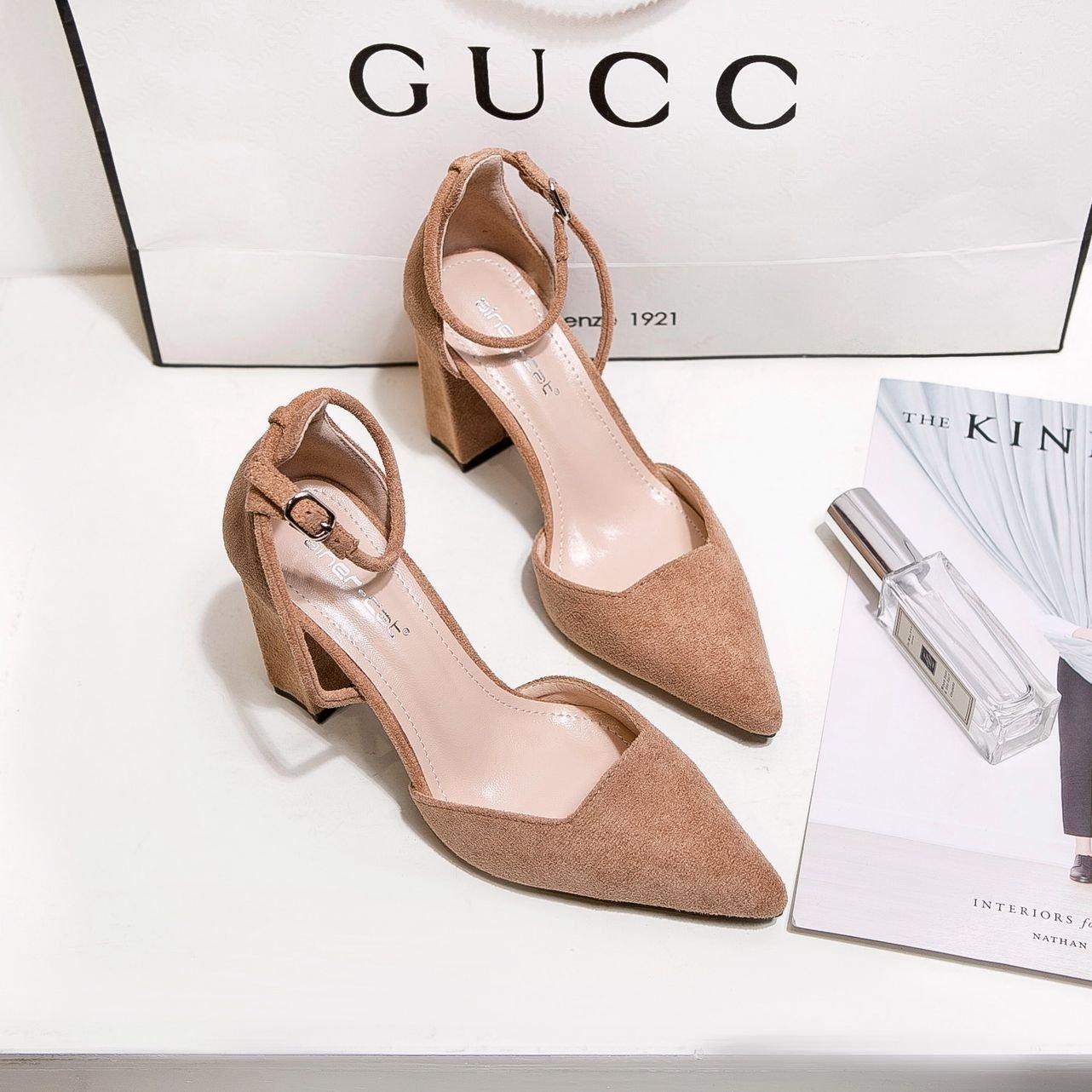 ZHZNVX Tipp des high-heel Schuhe neue geschlitzten Satin rauh mit Frauen Schuhe hohe hingewiesen - Sandaletten flache Mund einzelne Schuhe