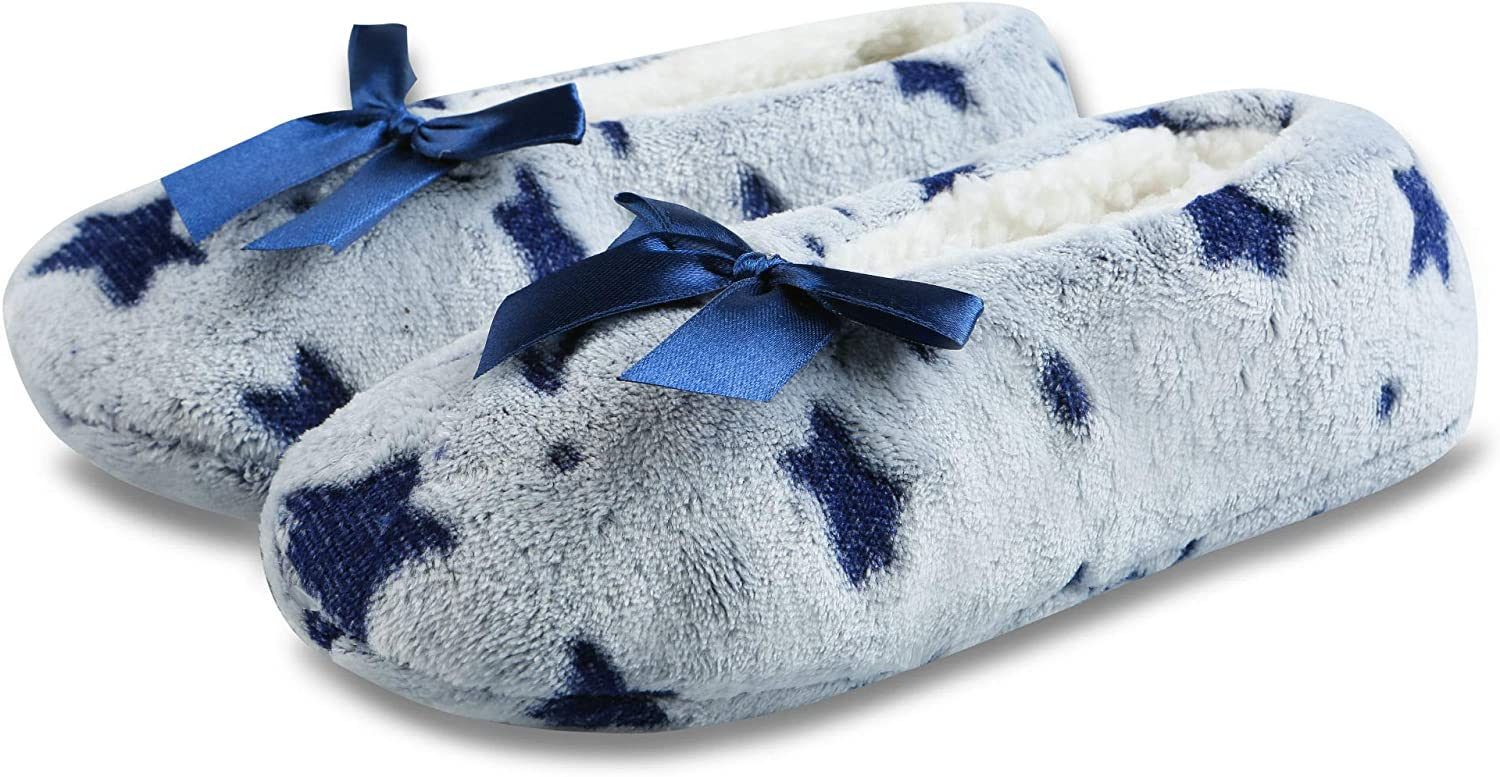 Womens Cozy Warm Lined Fuzzy Slipper Socks Indoor Booties with Non Slip Grippers