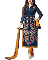 Shiroya Brothers Women's Ethnic Wear Poly Cotton Unstitched Regular Wear Salwar Suits Dress Material (SB_DM_5095_Nevy Blue_Free Size)