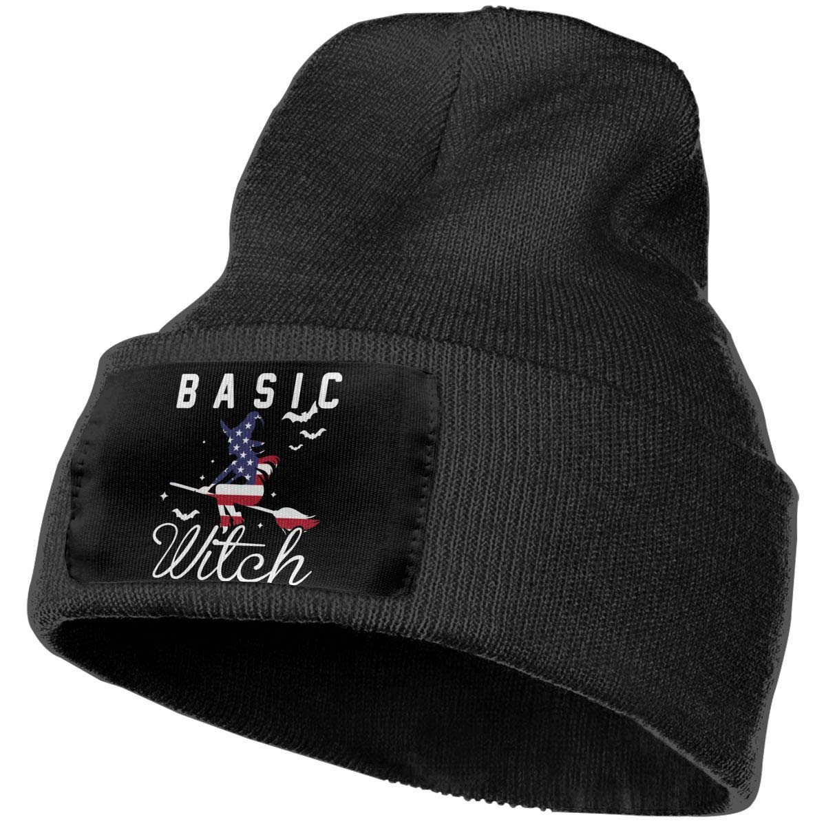 COLLJL-8 Unisex Basic Witch Halloween American Flag Outdoor Fashion Knit Beanies Hat Soft Winter Skull Caps