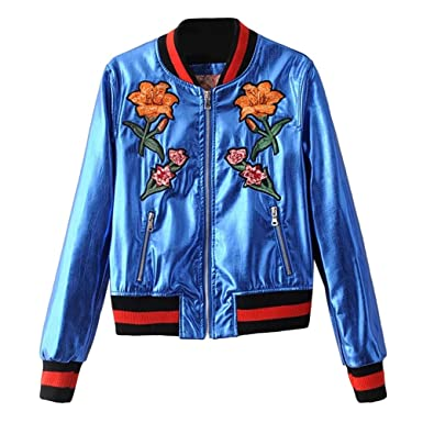 Zhhlinyuan Casual Chic PU leather Short Outerwear Heavy Embroidery Metal  Slim Biker Motorcycle Baseball Veste Femme a5638cf3233