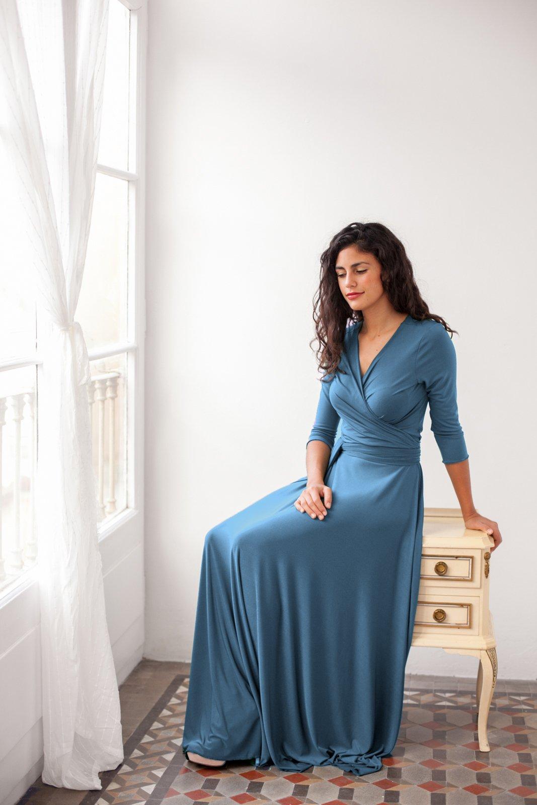 Long sleeve prom dress, evening dress, indigo blue dress with sleeves, long sleeve dress, long sleeve wrap dress, infinity long sleeve dress by Mimètik Bcn