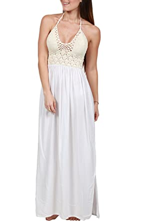 f8860b5967e Ingear Women s Beach Crochet Backless Bohemian Halter Maxi Long Dress  Beachwear (Small