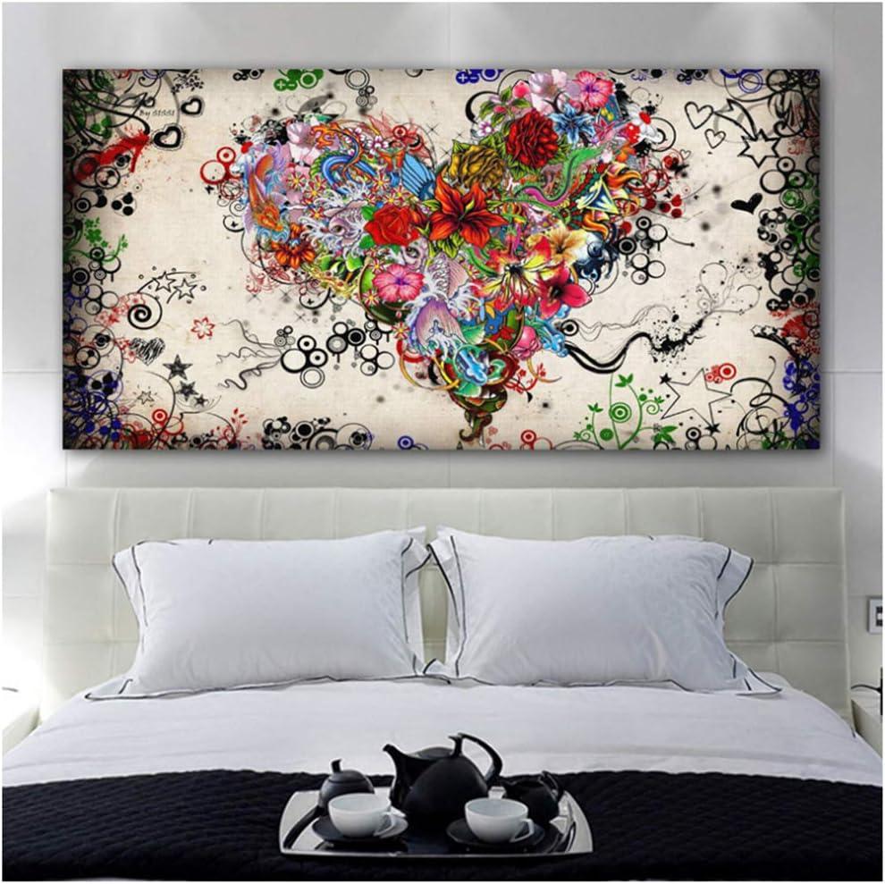 NO BRAND Pintura de Lienzo Corazones Flores Pintura Arte Abstracto Arte de la Pared para Sala de Estar Dormitorio Cuadros Decorativos Modernos Decoración del hogar 70x140cm (27.6