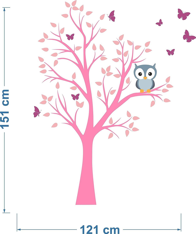 madras24 Sticker Mural pour Enfants Mur pour Un Enfant Jardin denfants des La Chambre des Enfants Salon Chambre /à Coucher /école D/écoration Jungle for/êt Animaux Arbre hiboux Hibou MK78R XL