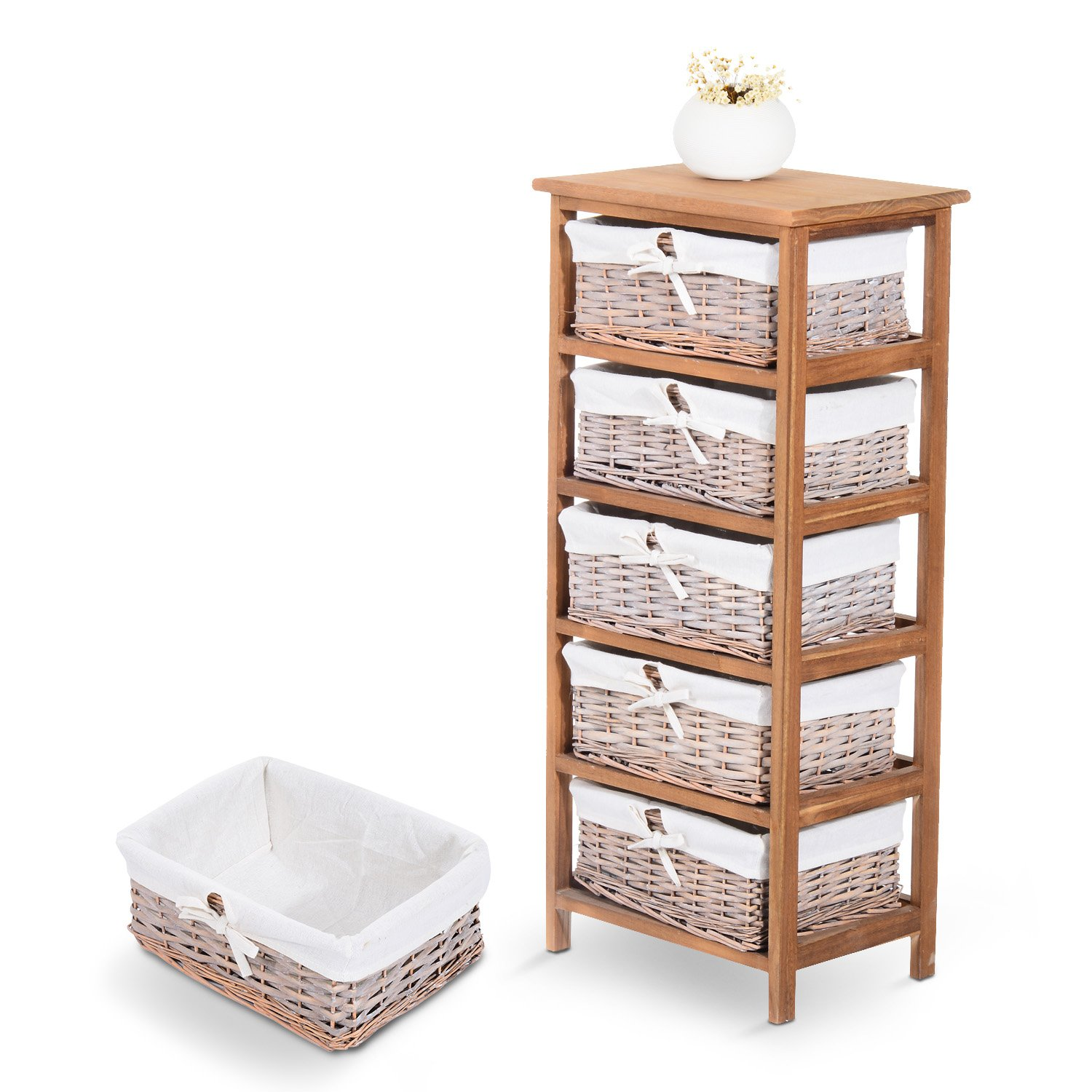 Tetbury white storage unit with 5 drawers bedroom furniture direct - Homcom 5 Drawer Storage Unit Wooden Frame With Wicker Woven Baskets Household Cabinet Chest Amazon Co Uk Diy Tools
