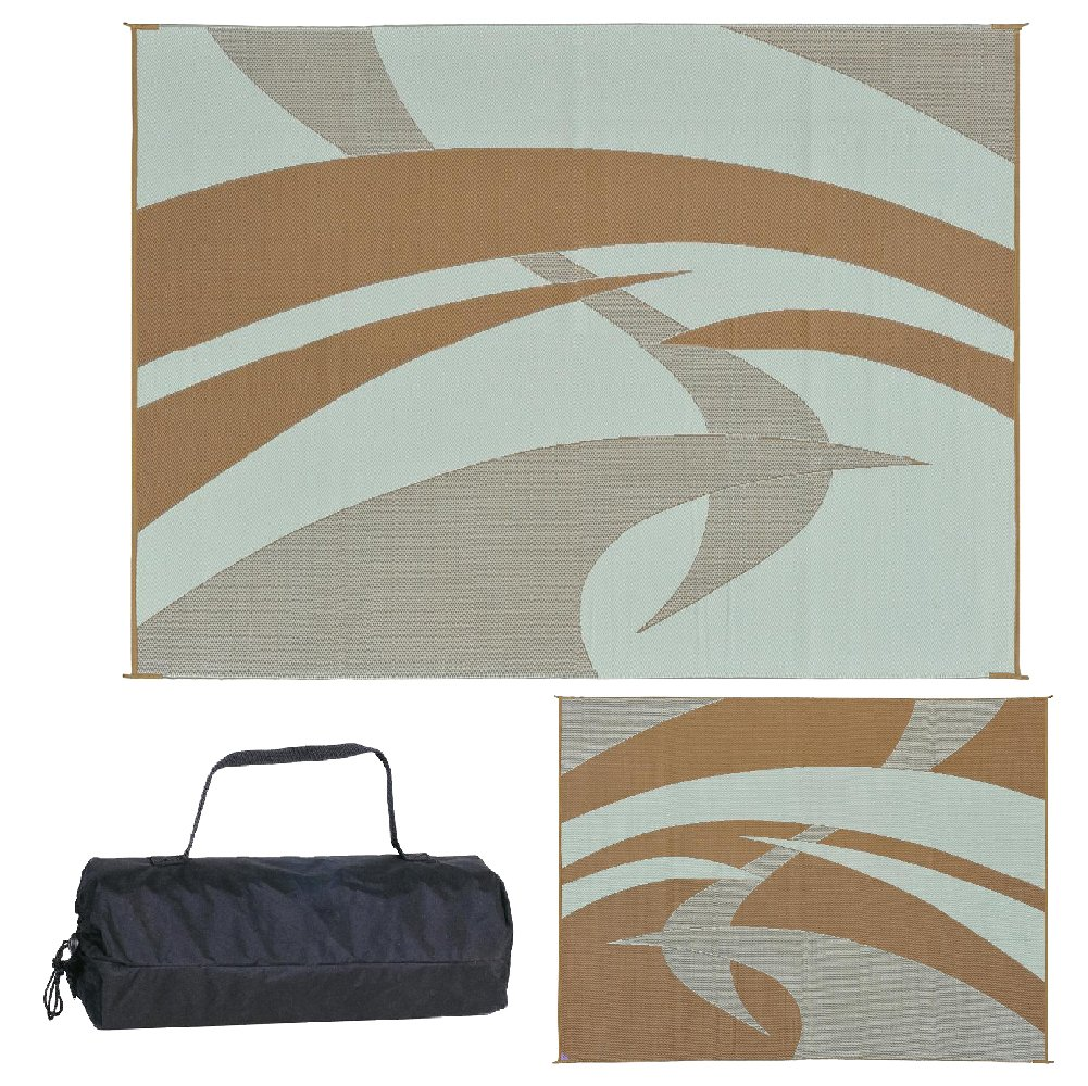 Reversible Mats 159127 Outdoor Patio/RV Camping Mat - Swirl (Brown/Beige, 9-Feet x 12-Feet) by Reversible Mats