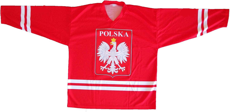 Hockey Jersey with Polska Logo, RED Jersey Size X Large, New
