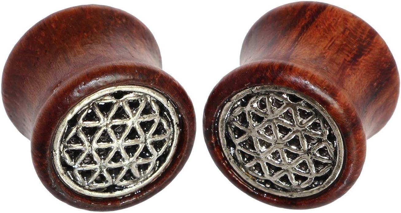 Flower Wood Ear Plug Flesh Tunnels Gauges Organic Double Flared Saddle DP