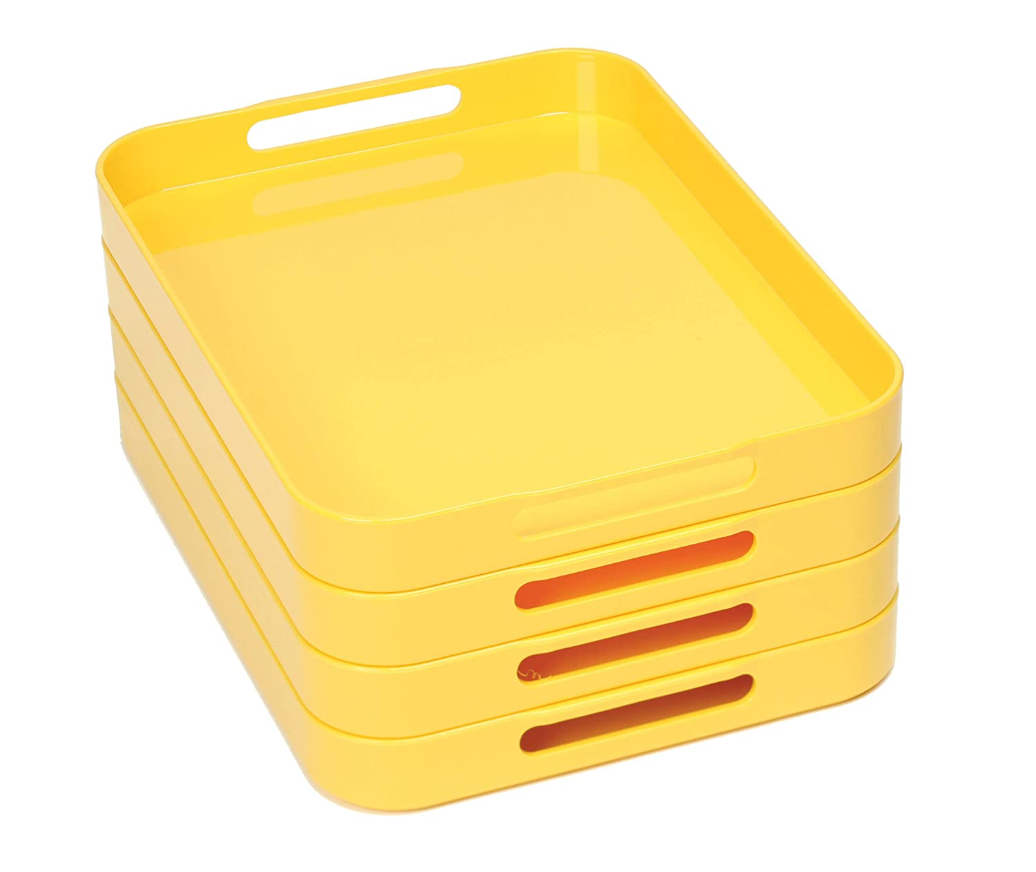 Yellow 4-Pack Montessori Stackable Trays with Handles Set