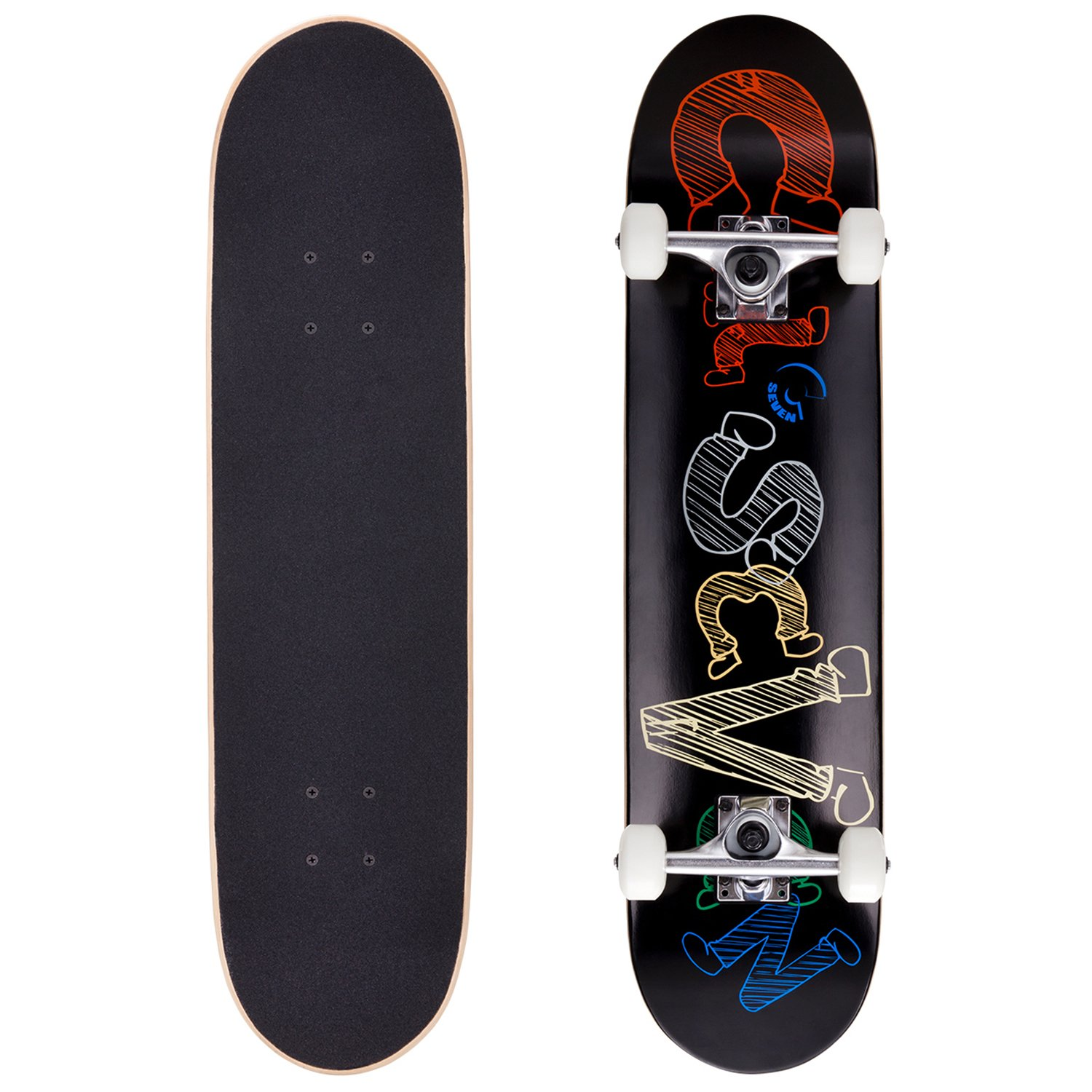 Cal 7 Complete Skateboard, Popsicle Double Kicktail Maple Deck, Skate Styles in Graphic Designs (7.5'' Fresno)