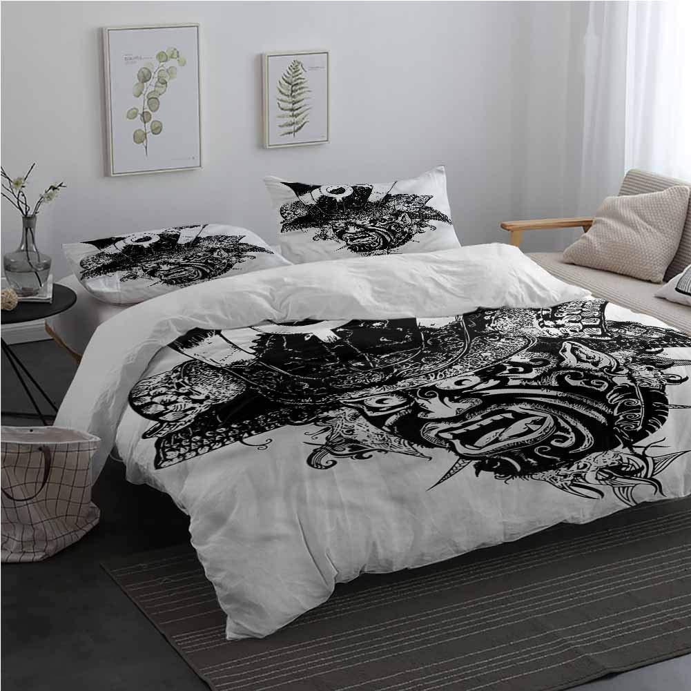 AndyTours Black and White Duvet Cover Set with Zipper Samurai Warrior Bedding Set for Men, Women, Boys and Girls King