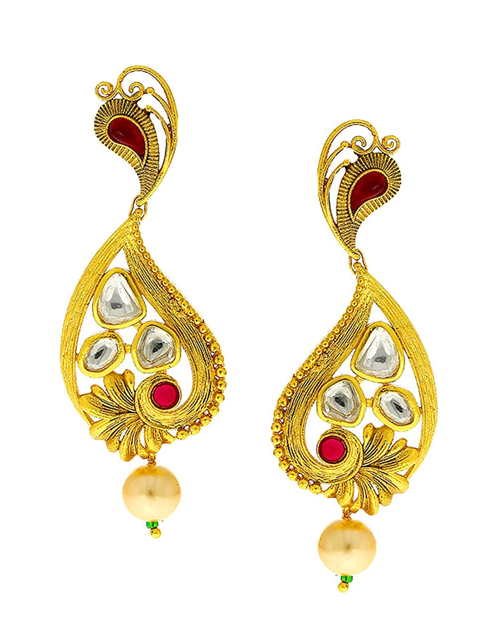 Anuradha Art Gold Finish Styled With Kundan Stylish Designer Traditional Long Earrings For Women//Girls