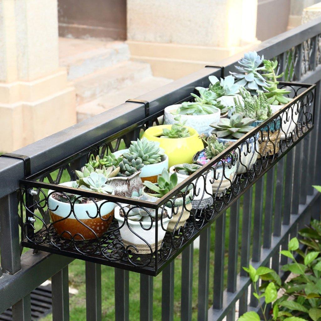 LEI ZE Jun UK- Balcone Flower Frame Hanging Ferro Fiore Ringhiera Guardrail Pot Rack Rack per vasi appesi a parapetto A Ripiani per Piante (Dimensioni   80cm20cm12cm)