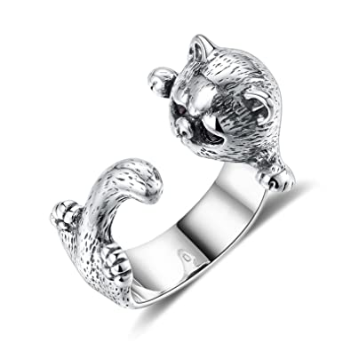 Aokarry Sterling Silver Cat Bands Ring For Women Ideal Birthday Gift Girlfriend Open 17MM
