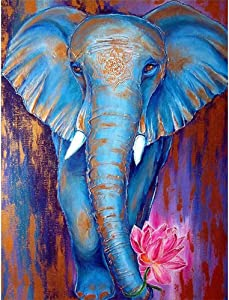 DIY 5D Diamond Painting Elephant by Number Kits, Painting Full Drill Rhinestone Crystal Pictures Arts Craft for Home Wall Decor Gift (#4)
