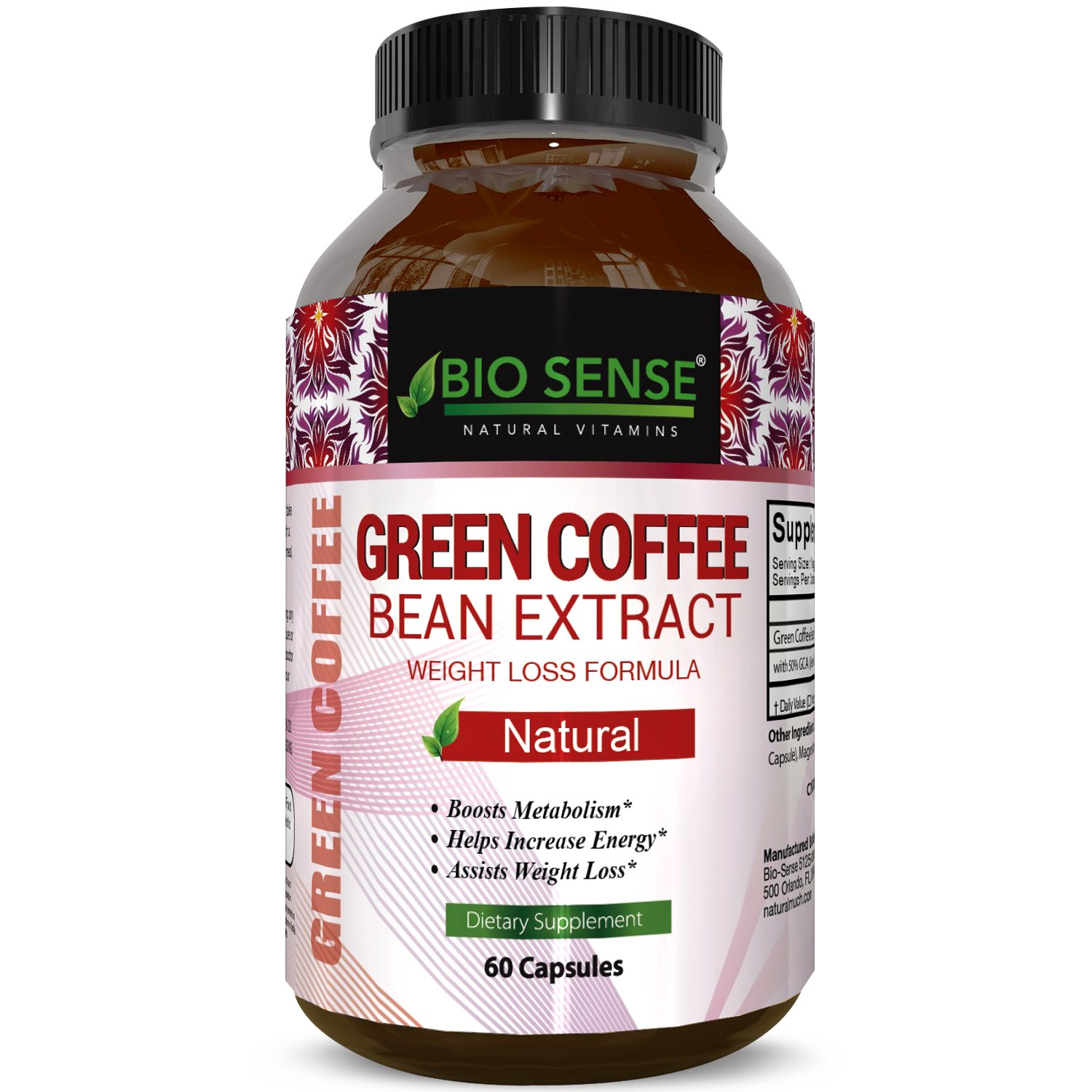 Pure Green Coffee Bean Extract for Weight Loss Pills - Dietary Supplement to Burn Fat Curb Appetite and Boost Metabolism for Men and Women - Contains Antioxidants to Detox and Cleanse - 800mg Capsules by Bio Sense (Image #1)