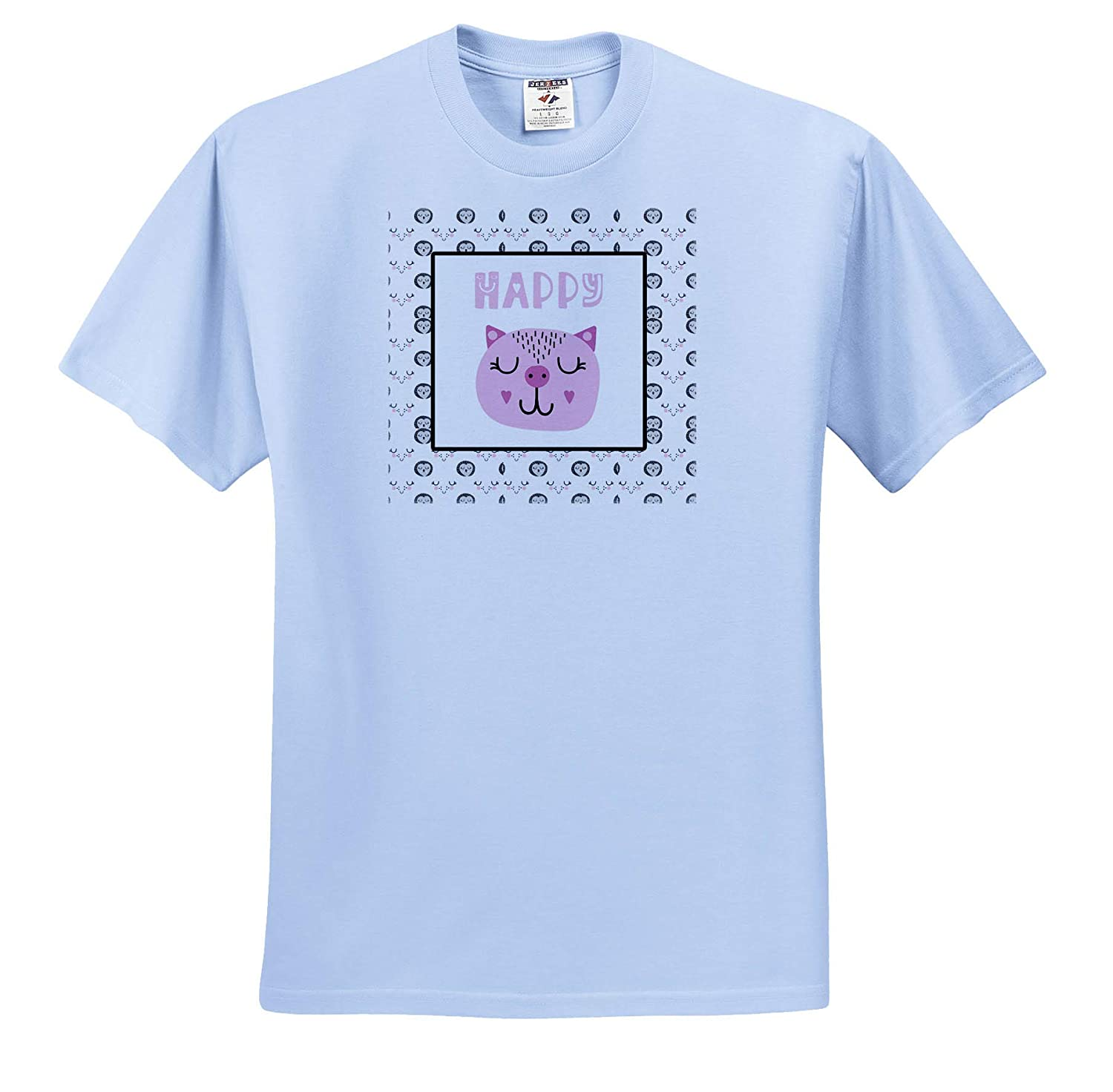 3dRose Uta Naumann Sayings and Typography Pink Animal Illustration and Pattern with Cat Happy T-Shirts
