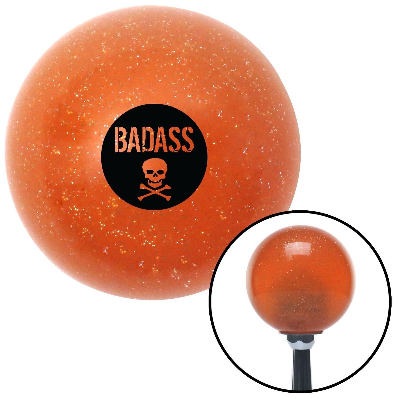 American Shifter 284966 Shift Knob Company Black Badass Badge Orange Metal Flake with M16 x 1.5 Insert