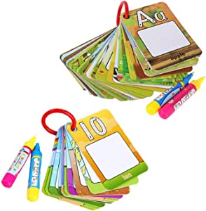 Coolplay Paint with Water Card Set Alphabet Number Color Shape Learning Cards 2 Rings and 4 Magic Replacement Pens for Kids Travel