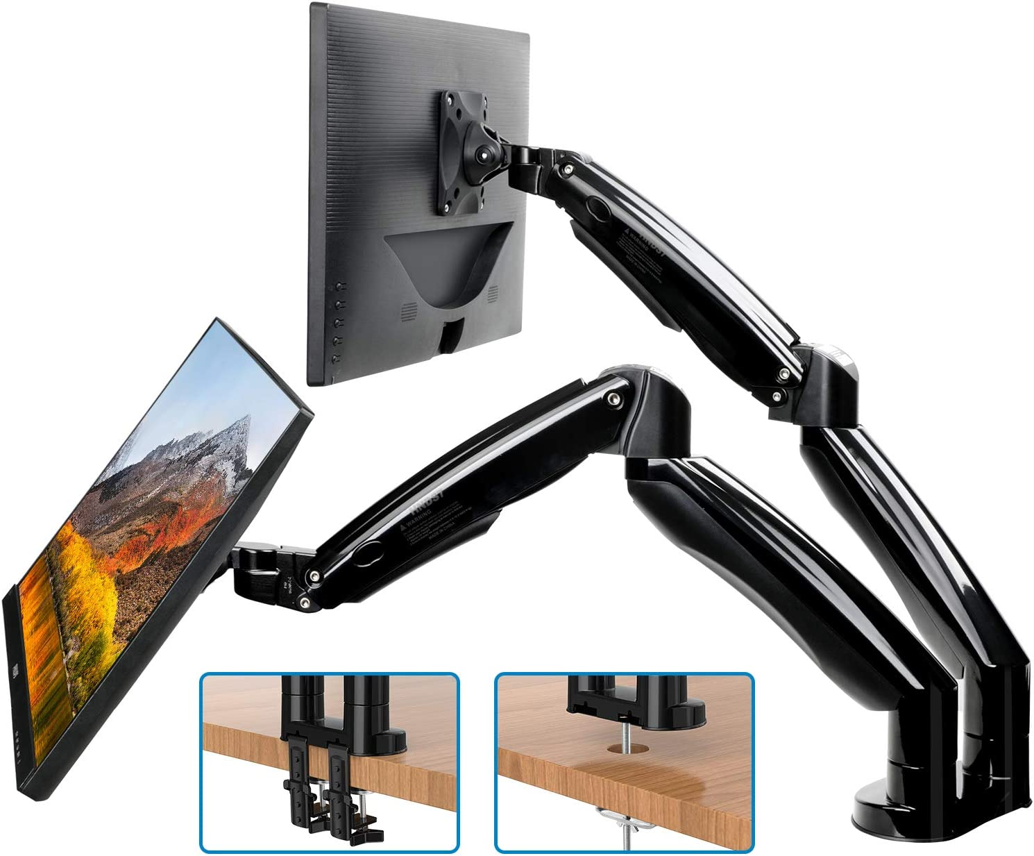 HUANUO Dual Monitor Mount Stand - Long Double Arm Gas Spring Monitor Desk Mount for 2 Screens 22 to 32 Inch Height Adjustable VESA Bracket with Clamp, Grommet Base -Each Arm Hold up to 19.8lbs