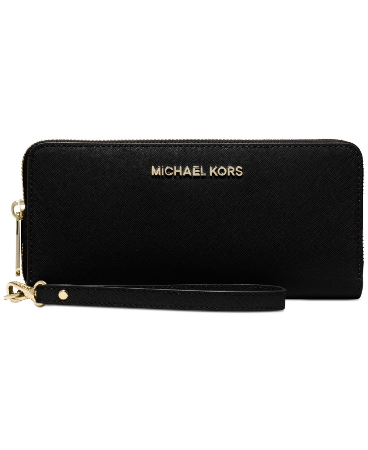 Michael Michael Kors Womens Bedford Travel Continental Leather Wallet, Black