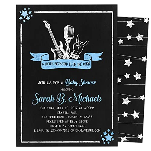 Amazon Com Rock Star Baby Shower Invitations Boy Guitar Handmade