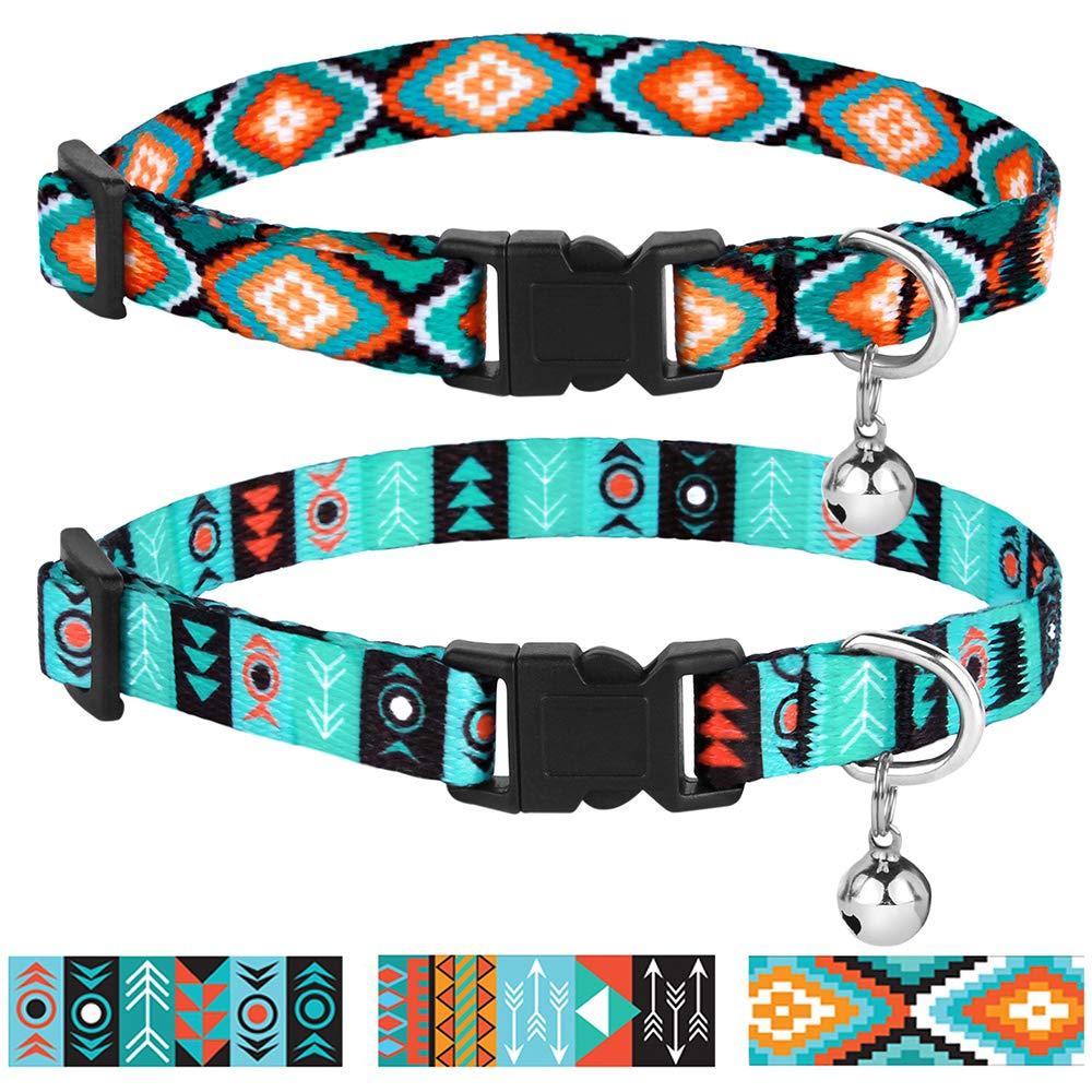CollarDirect Cat Collar Breakaway Set of 2 PCS Tribal Pattern Aztec Pet Safety Adjustable Kitten Collar with Bell (Pattern 3 + Pattern 1)