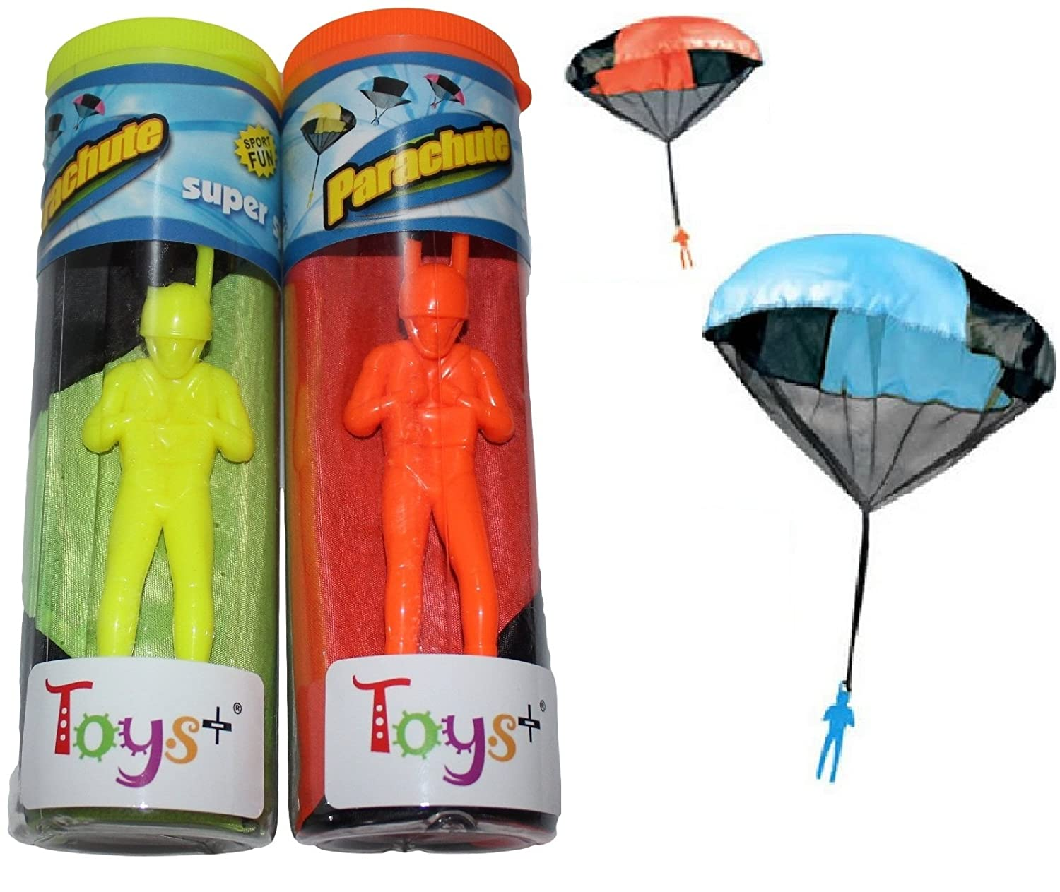 Toys 2 Pack Tangle Free Throwing Parachute Men with Large 20 Parachutes Blue Orange Pink and Yellow for Kids and Children Parachute Man