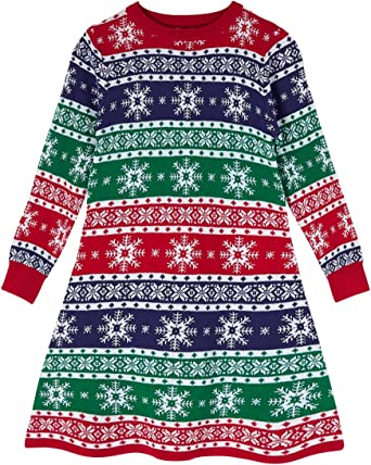 Funnycokid Little Girls Christmas Dress Xmas Gifts Knitted Sweater Dresses 2-9T