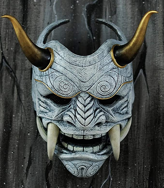 tripple_777 Samurai Assassin Demon Oni Airsoft Mask BB Gun Halloween Costume Ninja Warrior Evil Cosplay White DA02