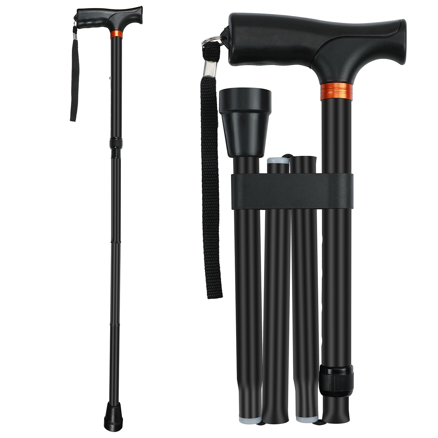 Folding Cane by Saymeto, Lightweight Walking Cane for Men & Women & Ladies, Adjustable Walking Stick Mobility Aid, Comfortable Handles, Black (37)