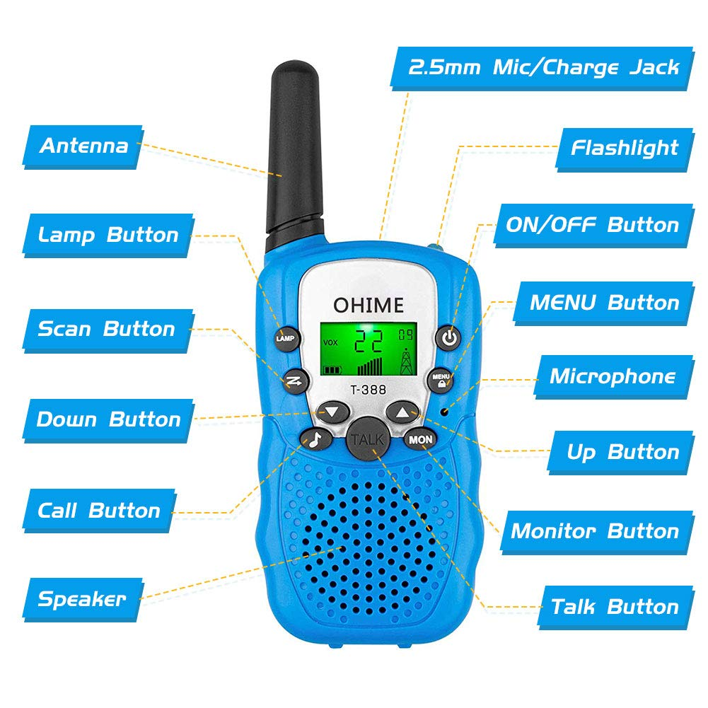Ohime Kids Walkie Talkies,Cover 3 Miles Range with Backlit LCD Flashlight 22 Channels 2 Way Radio Toy Outdoor Adventures, Camping, Hiking,Party (YellowΠnk&Blue) by Ohime (Image #3)