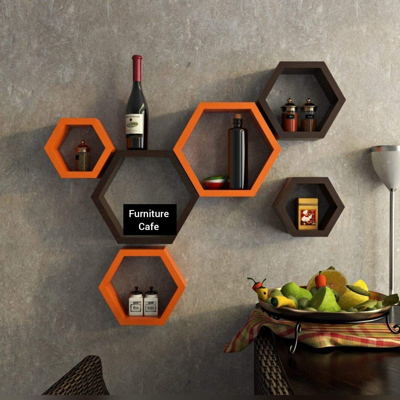 Hexagon Shape Set of 6 Floating Wall Shelves