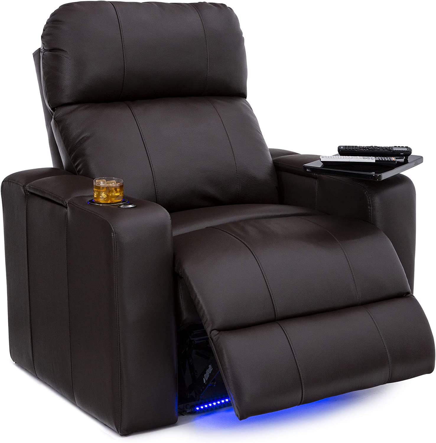 Seatcraft Julius Big & Tall 400 lbs Capacity-Home Theater Seating Leather Recliner-Adjustable Powered Headrest-SoundShaker-USB Charging-Lighted Cup Holders-Brown