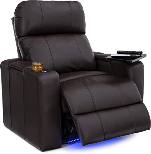 Seatcraft Julius Home Theater Seating Big Tall 400 lbs Capacity – Top Grain Leather – Power Recline – Powered Headrest – USB Charging – Lighted Cupholders and Base Single Recliner,Brown