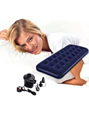 Denny International® Inflatable Flocked Single Air Bed Camping Mattress with Free Electric Air Pump