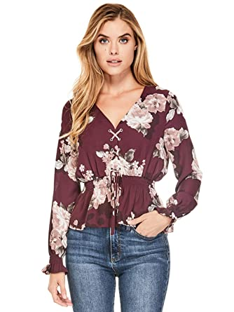afb0f829c6fae4 GUESS Factory Women s KOH Lace-Up Smocked Blouse at Amazon Women s Clothing  store