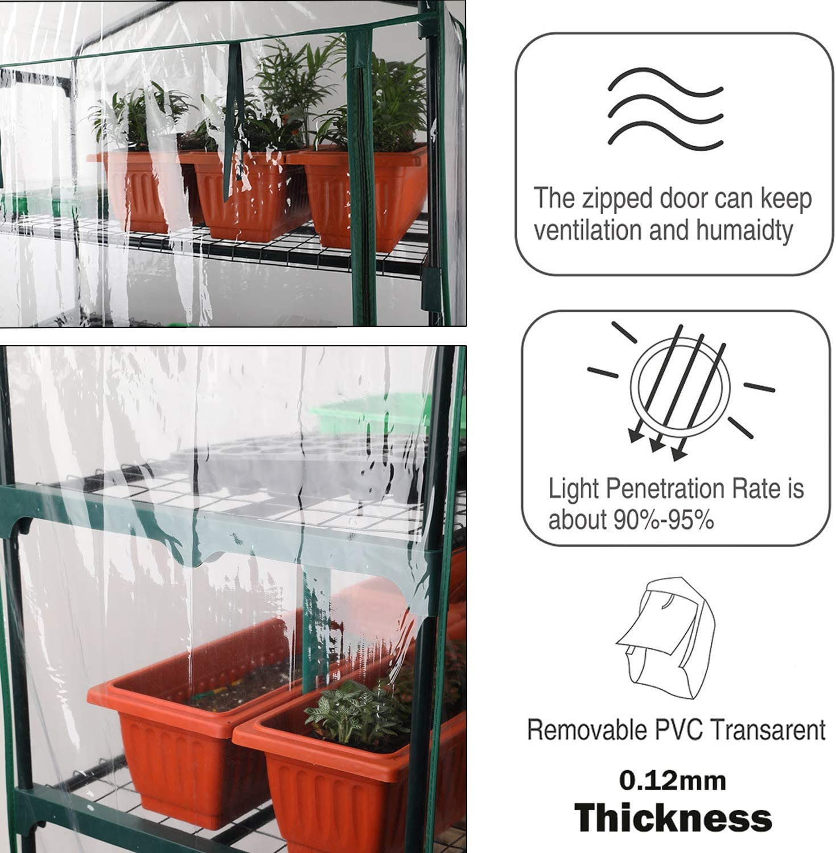 sin Marco de Hierro para Crecimiento de Semillas Worth Pl/ástico de Repuesto para Mini Invernadero Cubierta Clara de PVC para Interior y Exterior Plantas PVC de 3 Niveles