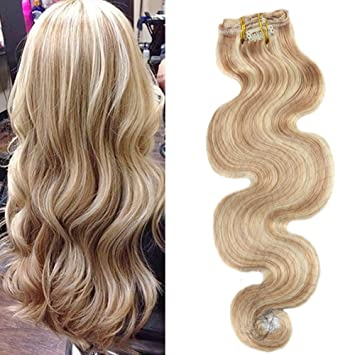 Moresoo 10 Inch Body Wave Clip On Hair Extensions Human Hair Thick To End Full Head Set 7 Pieces Set 120g Blonde Highlights Color Human Hair
