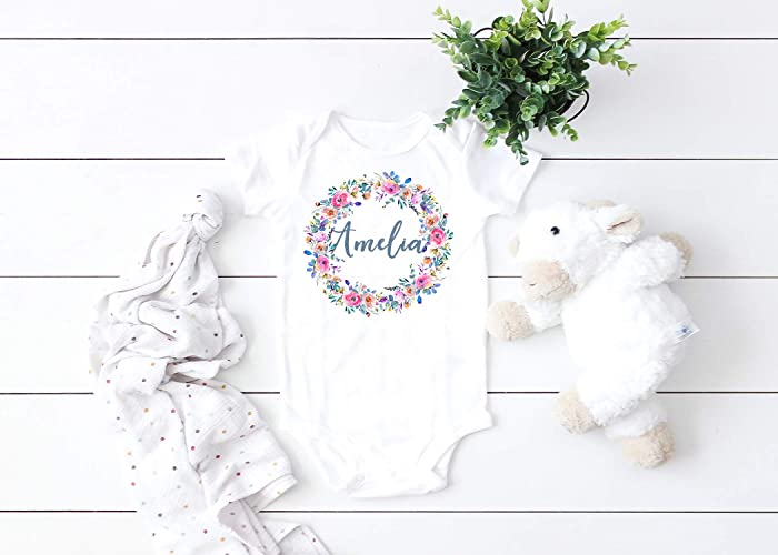 618a161d7 Image Unavailable. Image not available for. Color: Baby Name Personalized  Floral Wreath Baby Bodysuit ...