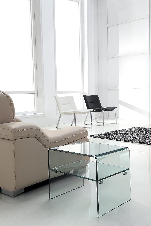 Design Beistelltisch Layer aus Glas klar | 48 x 40 x 40cm | mit Einlageplatte | Wohnzimmer Glastisch aus einem Stück gebogen | hochwertig verarbeitet