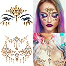 Kapmore Face Gems, Temporary Tattoo Face Gems, Glitter Face Gems, Glittering Self-Adhesive Rhinestones, Face Jewels for Festivals, Rave Eyes, Forehead Stickers